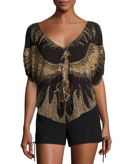 Earth Angel Deep-V Embellished Silk Blouse
