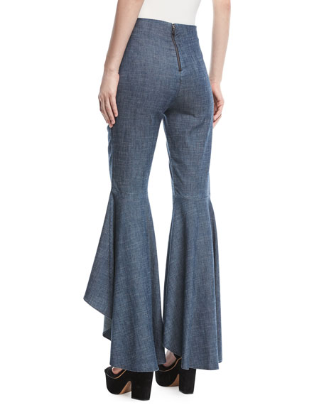 Jinny High-Low Flare-Leg Pants