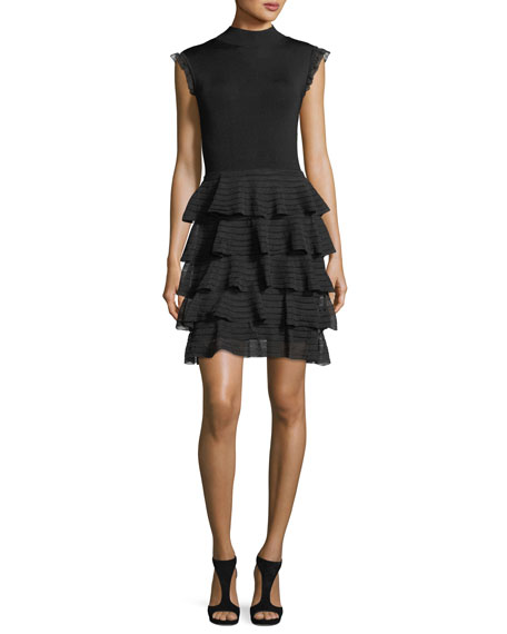 Janice Tiered Ruffled Fit-and-Flare Knit Dress