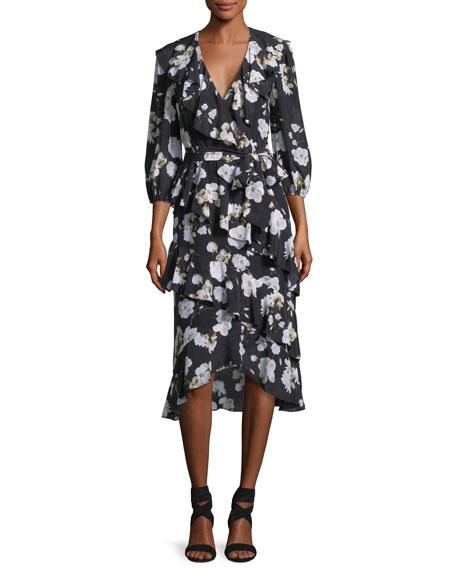 Kye V-Neck Floral-Printed Ruffled Midi Dress