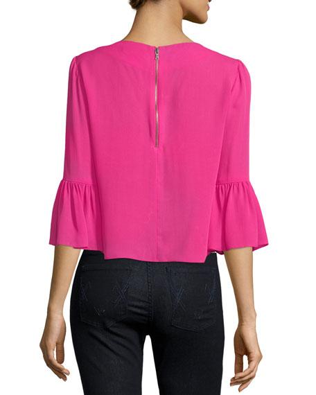 Bernice 3/4 Ruffle-Sleeve Back-Zip Top