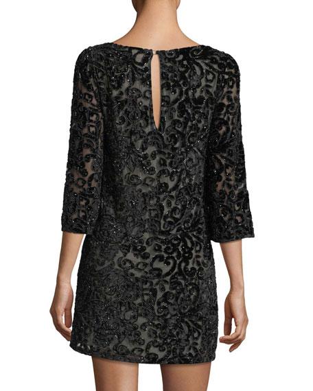 Riska Embellished Velvet Devoré Cocktail Dress