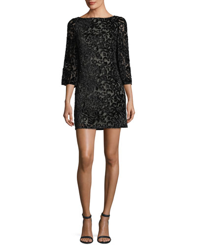 Riska Embellished Velvet Devoré Cocktail Dress