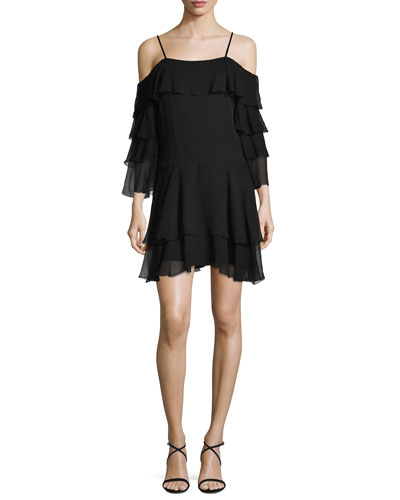 Lexis Ruffled Cold-Shoulder Mini Dress