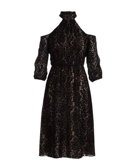 Ruthann Cold-Shoulder Halter Velvet Devoré Midi Dress