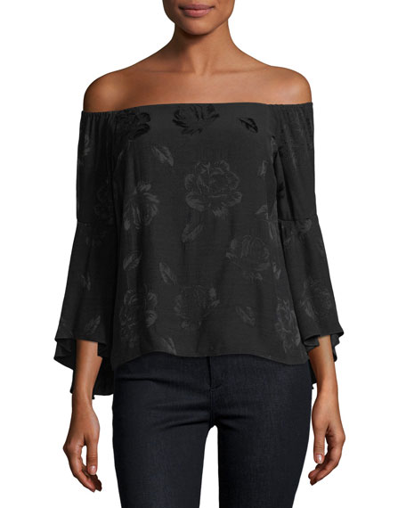 Shera Off-the-Shoulder Trumpet-Sleeve Floral-Embroidered Top