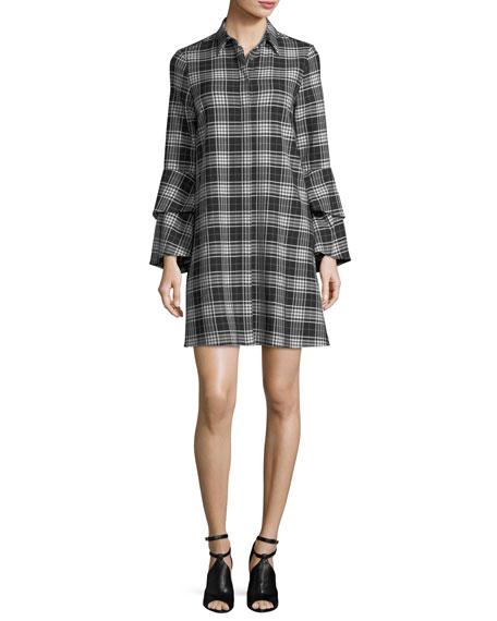 Jem Button-Front Long-Sleeve Plaid Shirtdress