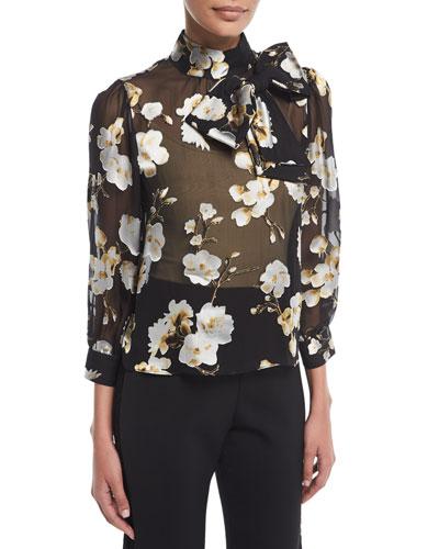 Violeta Sheer Floral-Print Bow-Neck Blouse