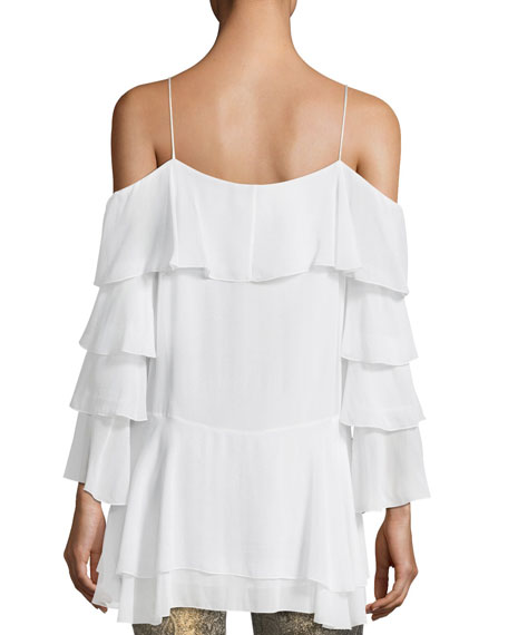 Lexia Lyrd Cold-Shoulder Ruffled Chiffon Blouse
