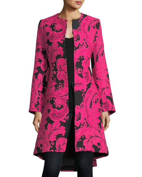 Liza Bell-Sleeve Paisley Embroidered Midi Coat