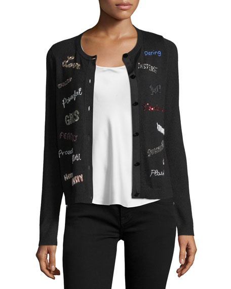 Ruthy Feminist Phrases Button-Front Cardigan