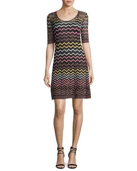 Multicolor Zigzag-Print Half-Sleeve Dress