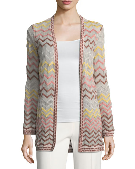 Image 1 of 1: Multicolor Zigzag-Print Open-Front Cardigan