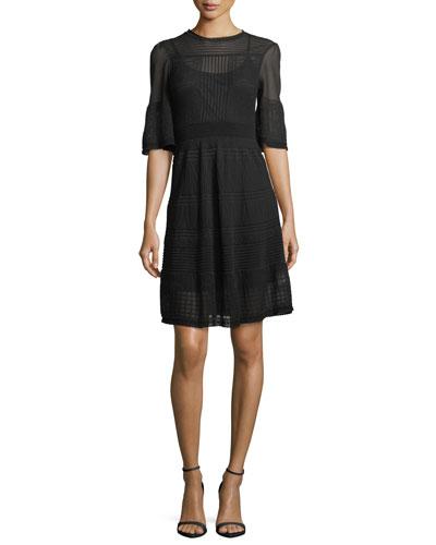 Half-Sleeve Rib-Stitch Dress