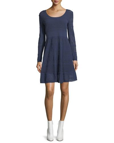 Rib-Stitch Long-Sleeve Dress