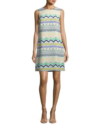 Zigzag-Print Sleeveless Silk Dress