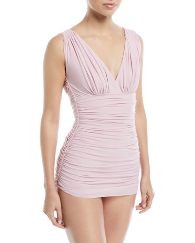 Tara Mio Shirred Solid One-Piece Swimsuit