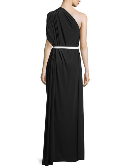 One-Shoulder Belted Column Gown