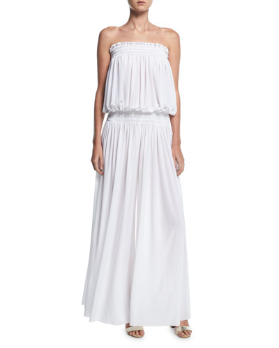 Strapless Peasant Wide-Leg Coverup Jumpsuit
