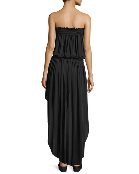 Strapless High-Low Peasant Dress Coverup