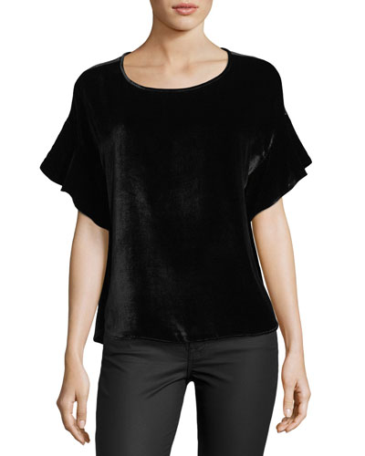 Clara Scoop-Neck Flutter-Sleeve Velvet Top