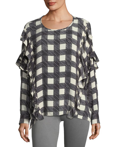 Bijou Round-Neck Check-Print Blouse w/ Ruffled Trim