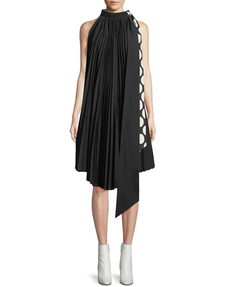 Reversible Pleated Tie-Neck Shift Dress