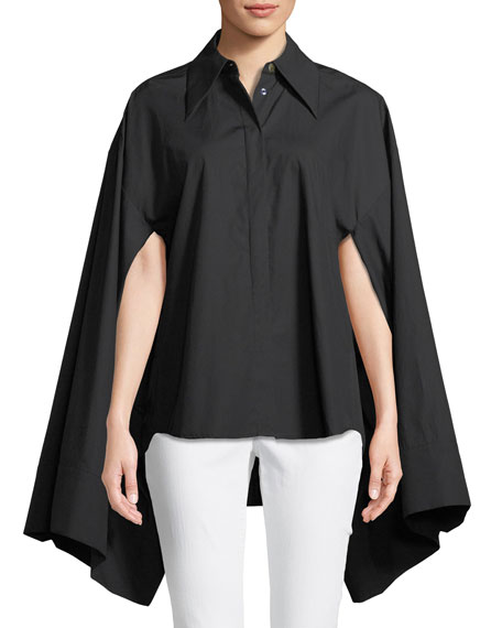 Button-Front Kimono-Sleeve Cotton Shirt