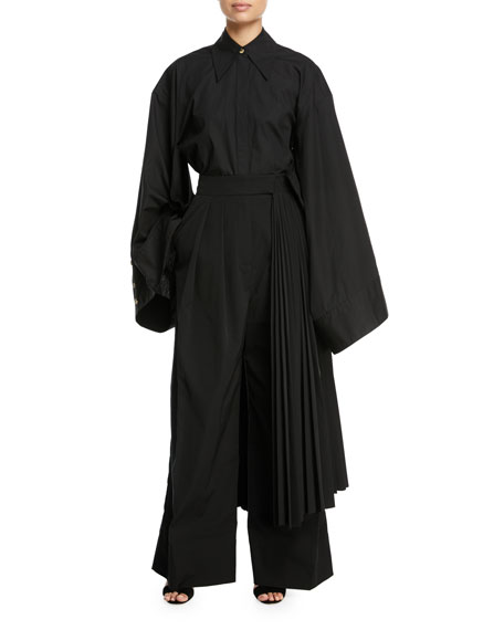 Wide-Leg Pants with Pleated Half Skirt Detail