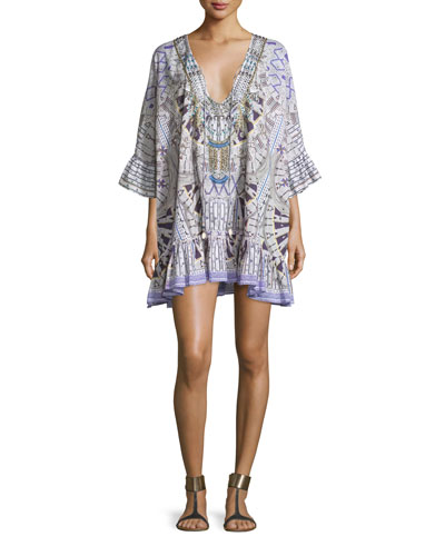 Embellished Tie-Front Bell-Sleeve Coverup Dress, Singing Wells