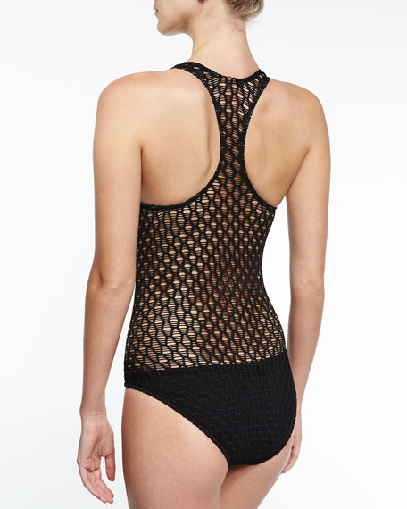 Martinique Netting One-Piece Swimsuit, Black