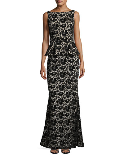 Jae Peplum Open-Back Velvet Lace Gown