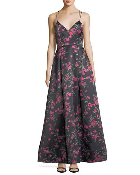 Alice + Olivia Marilla V-Neck Sleeveless Strappy Floral-Print Gown