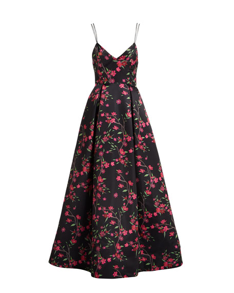 Marilla V-Neck Sleeveless Strappy Floral-Print Gown