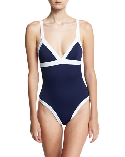 Italian Solid Colorblock Scoop-Back One-Piece Swimsuit, Blue/White