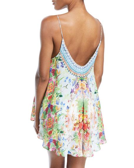 Low-Back Sleeveless Printed Silk Top