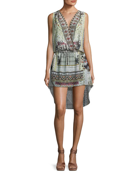Crossover Printed Silk High-Low Coverup Dress