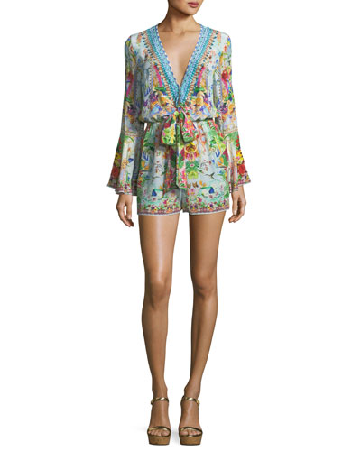 Bell-Sleeve Beaded Plunging Printed Silk Playsuit