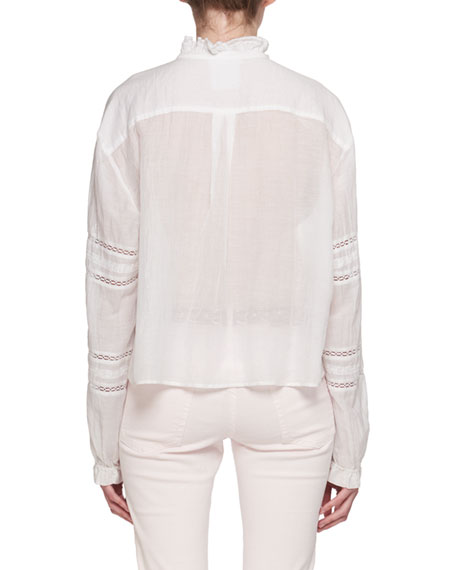 Valda Long-Sleeve Lace Cotton Blouse with Ruffled Trim