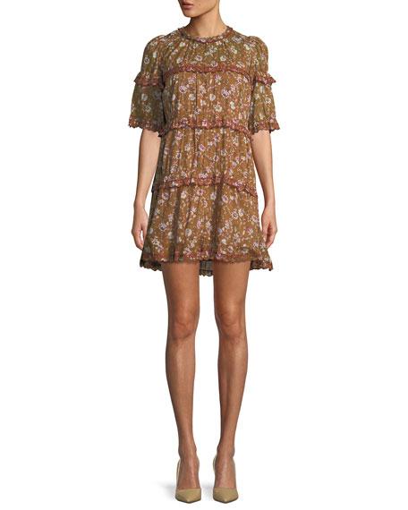Maiwenn Ochre Floral Print Tiered Mini Dress
