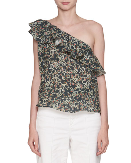 Thom One-Shoulder Printed Linen Blouse