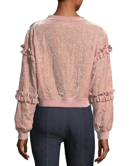 Nara Embroidered Velvet Pullover Sweatshirt w/ Ruffled Trim