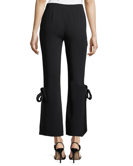 Lou Flared Tie-Hem Crepe Pants