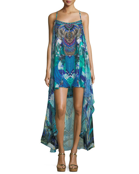 Embellished Printed Coverup Mini Dress with Overlay