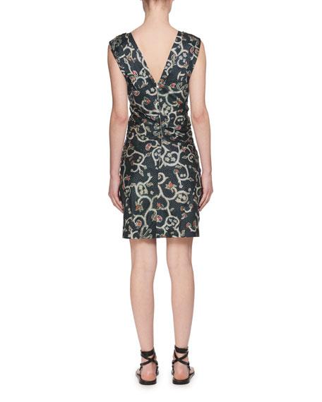 Carla Plunging Sleeveless Printed Satin Dress