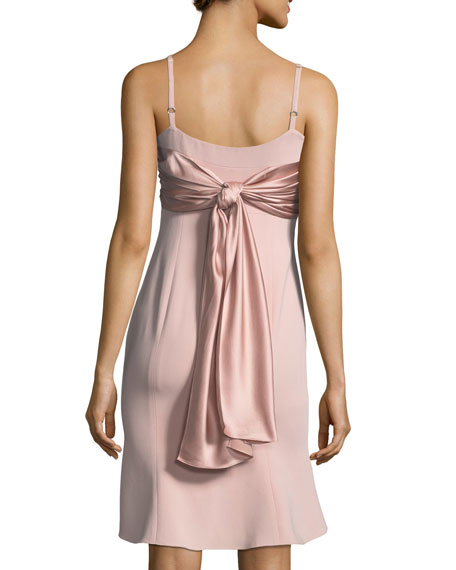 Paloma Sleeveless Crepe Dress w/ Ruched Satin Tie