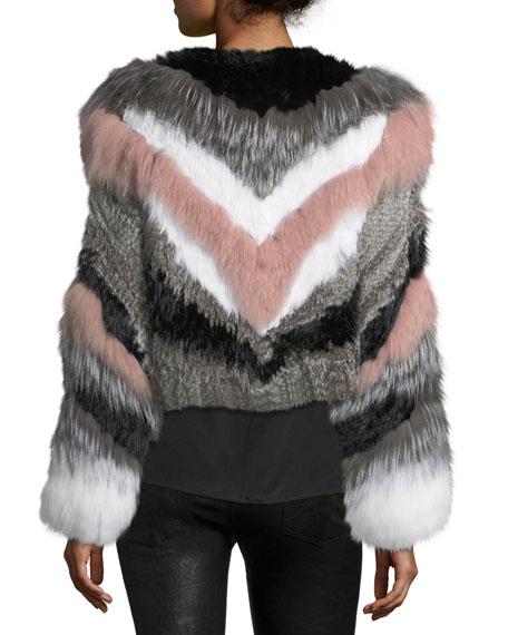 Apollo Cropped Striped Fur Jacket