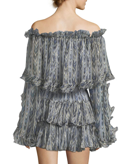 Dahlia Off-the-Shoulder Printed Dress with Ruffles & Metallic Trim