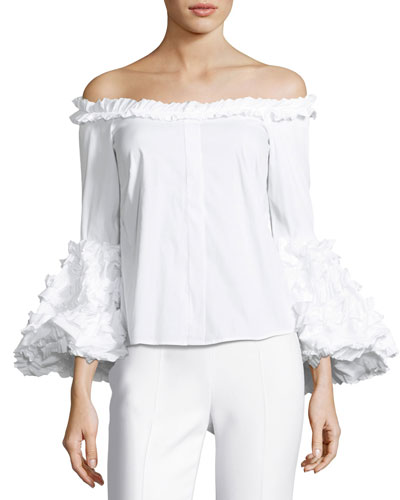 Gisele Off-the-Shoulder Ruffled Poplin Top