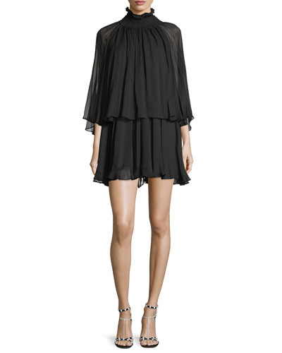 Mock-Neck Long-Sleeve Silk Chiffon Mini Dress